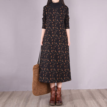 Women Winter Pocket Floral Turtleneck Dress
