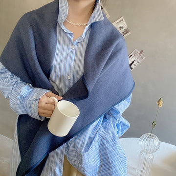 Women Winter Pure Color Knitted Scarf Shawl
