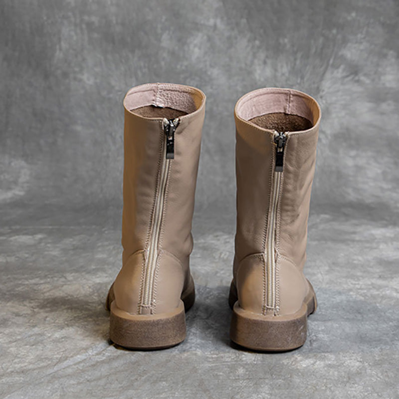 Women Winter Pure Color Mid-calf Leather Boots