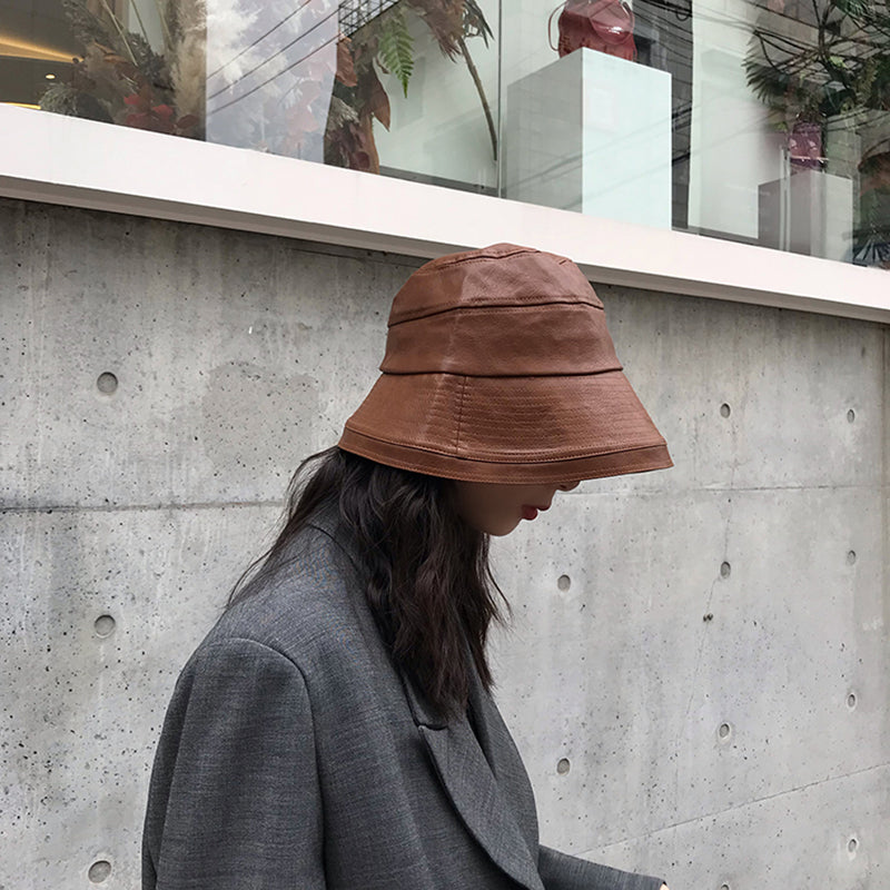Women Winter Pure Color PU Leather Hat