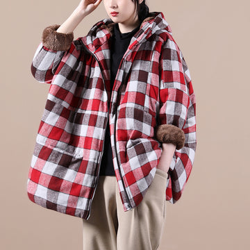 Women Winter Thick Loose Plaid Coat