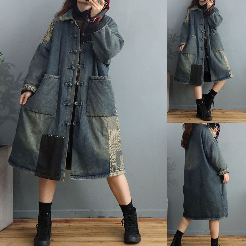 Women Winter Thick Patchwork Denim Coat