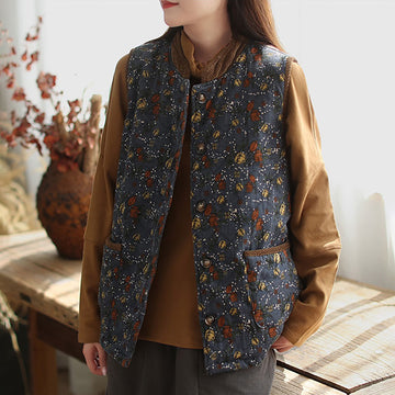 Women Winter Thick Retro Flower Print Coat