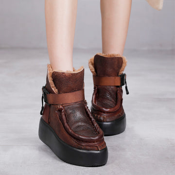 Women Winter Thick Warm Wool Leather Boots