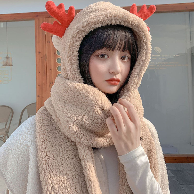 Women Winter Warm Antlers Hat Scarf Gloves