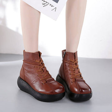 Women Winter Warm Retro Lace-up Zipper Boots