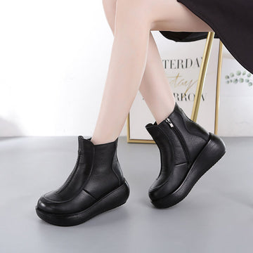 Women Winter Warm Retro Zipper Boots