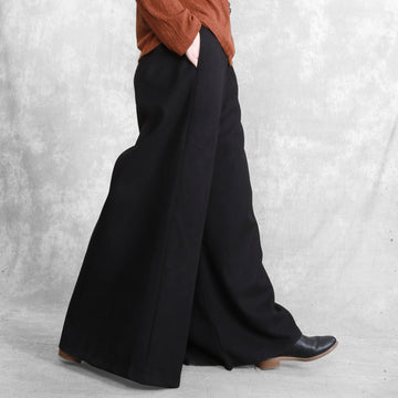 Women Winter Wool Black Wide Leg Pants