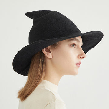 Women Winter Wool Solid Color Witch Hat