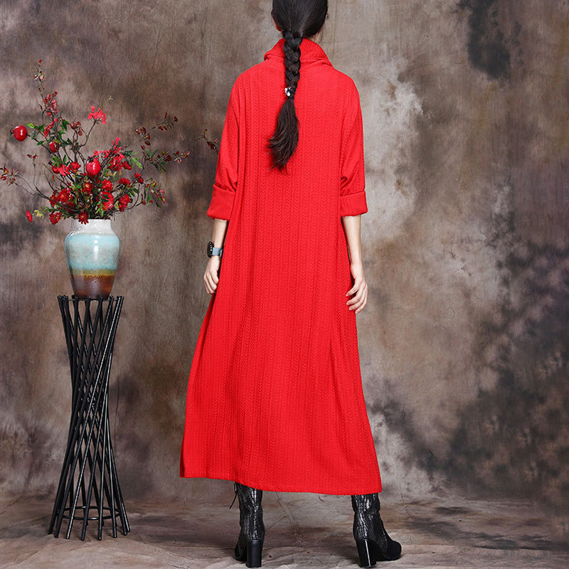 Women Wool Knitted Embroidered Dress
