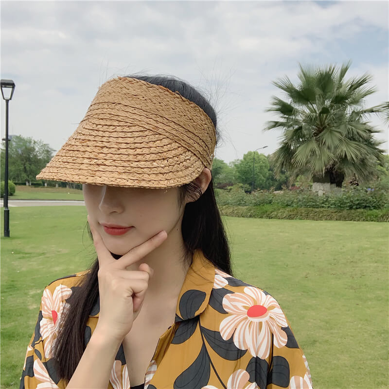 Women Woven Design Fashion Sunscreen Beach Hat