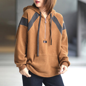 Women Zipper Drawstring Hooded Casual Sweatshirt