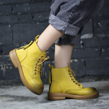 Women Zipper Lacing Leather Short Boots
