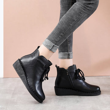 Women Zipper Round Toe Boots