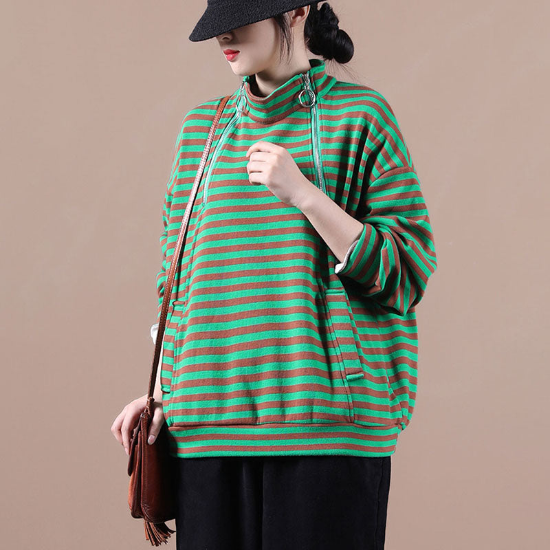 Women Zipper Striped Pocket Sweatshirt