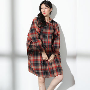 Women Autumn Cotton Plaid Loose Drawstring Coat