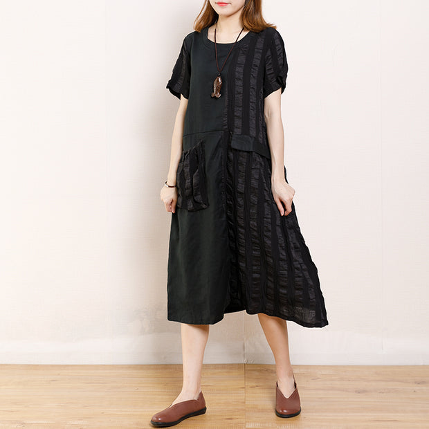 Round Neck Casual Patchwork Summer Dress