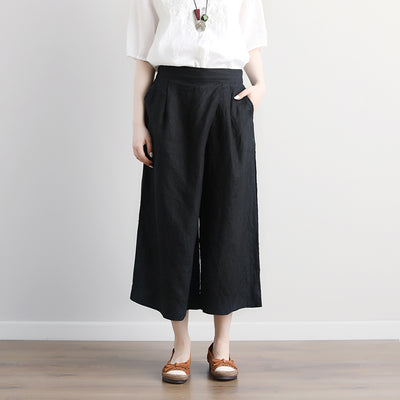 Women Black Casual Wide Leg Pockets Long Pants