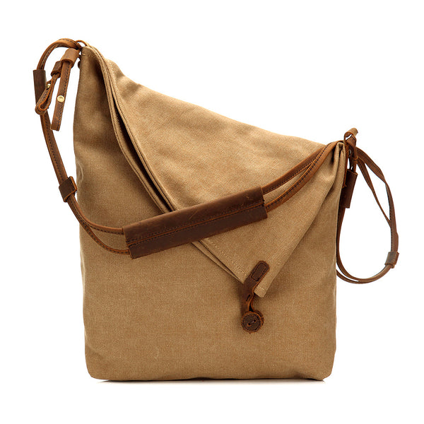 Women Canvas And Leather Crossbody Bag