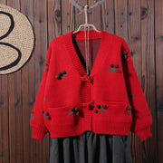 Women Cardigan Cherry Embroidery Short Coat