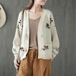 Women Cardigan Cherry Pompon Short Coat
