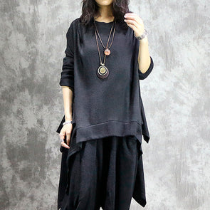 Women Casual Baggy Irregular Solid Top