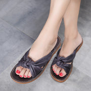 Women Casual Bow Tie Black Comfortable Slippers