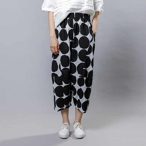 Women Casual Cotton Dot Print Wide Leg Pants