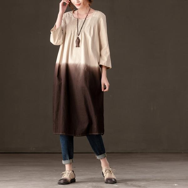Women Casual Long Sleeve O-neck Dress