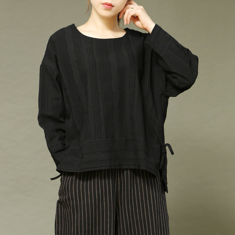 Women Casual Loose Linen Long Sleeve T-Shirt
