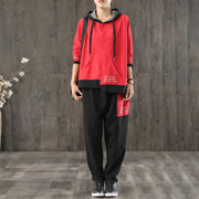 Women Casual Red Hoodie And Pants Set