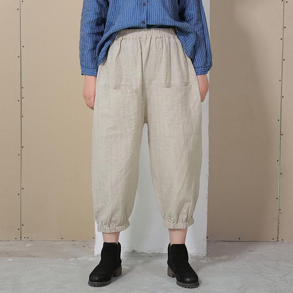 Plus Size - Summer Women Loose Stripe Lantern Pants