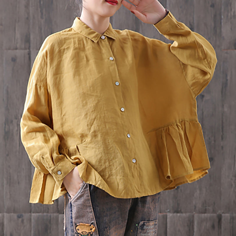Women Casual Turn-down Collar Loose Spring Shirt