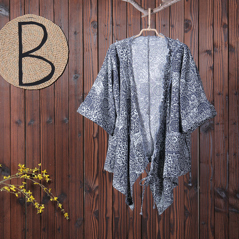 Women Casual V-Neck Print Cardigan Drawstring Coat