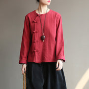 Women Chinese Style Cotton Frog Spring Coat Shirt