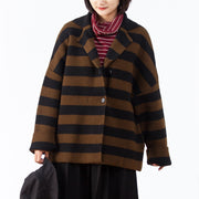 Turn-down Collar Women Coffee Stripe Cardigan