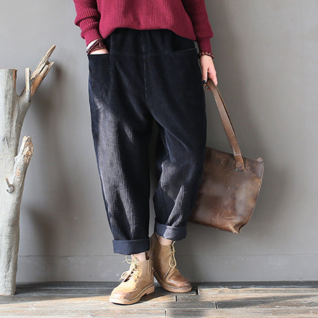 Women Corduroy Loose Retro Spring Turnip Pants