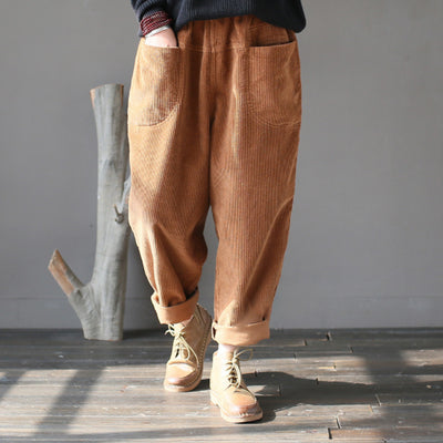 Women Corduroy Loose Spring Vintage Casual Turnip Pants