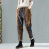 Women Corduroy Spliced Winter Elastic Waist Pants