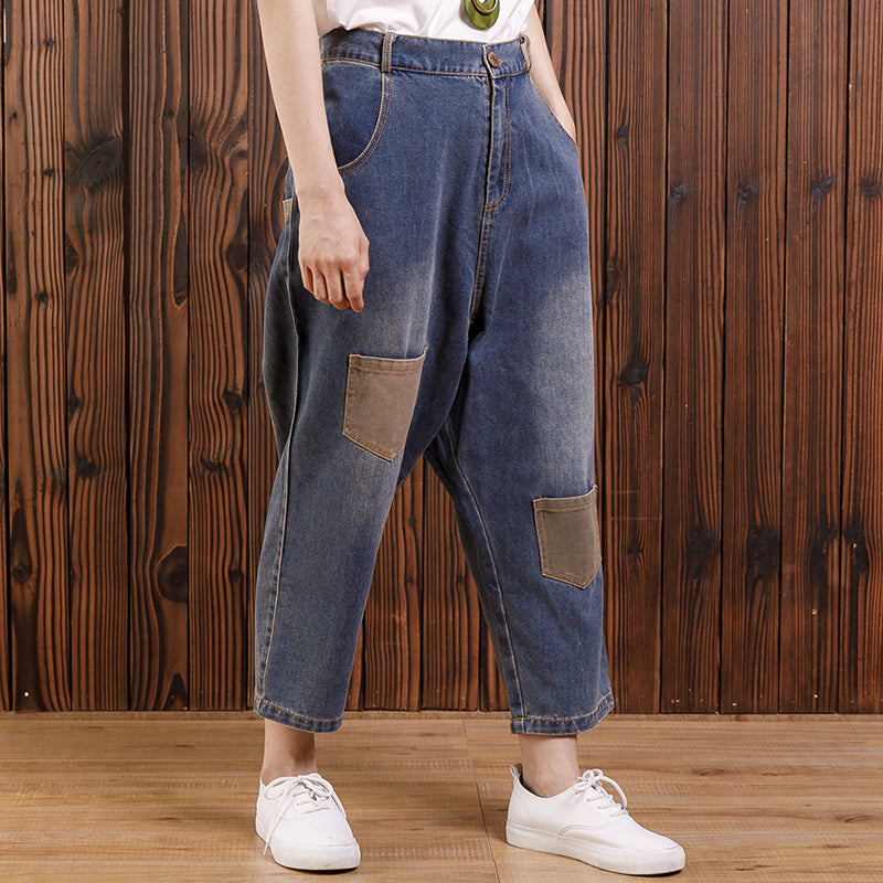 Women Cotton Casual Pockets Straight Jeans