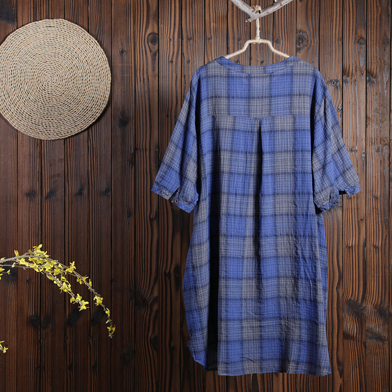 Women Cotton Linen Dress Casual Plaid Dress