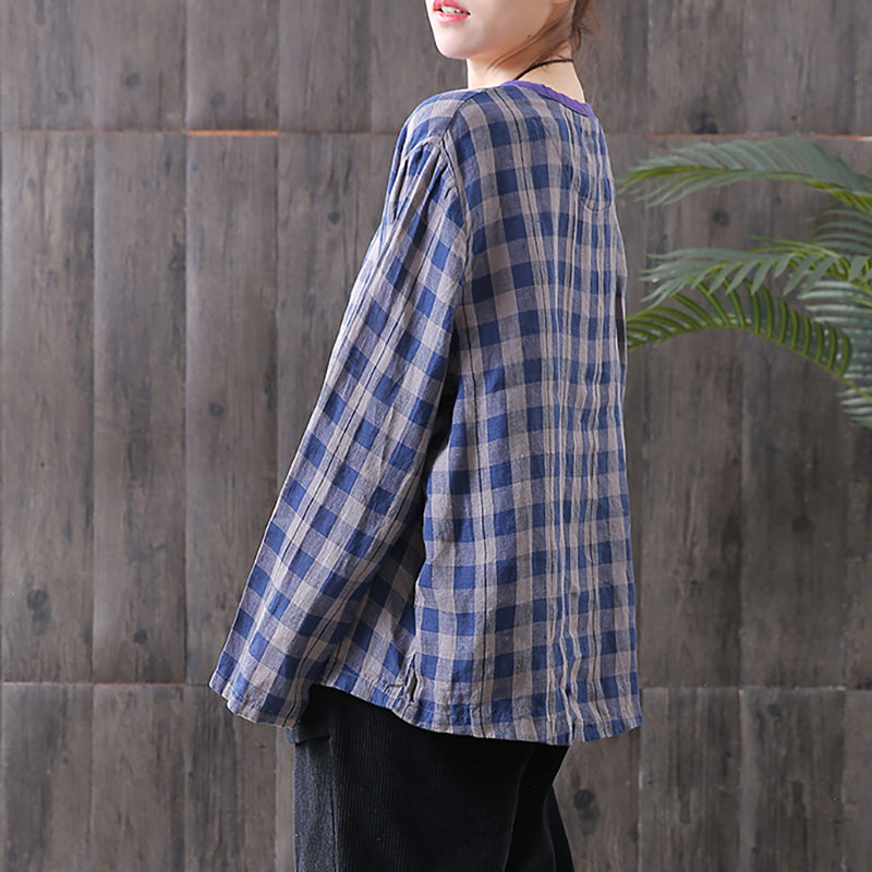 Women Cotton Linen Spring Plaid Loose Frog Shirt