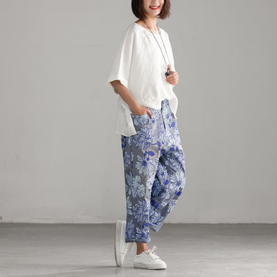 Women Cotton Printing Ankle-length Pants