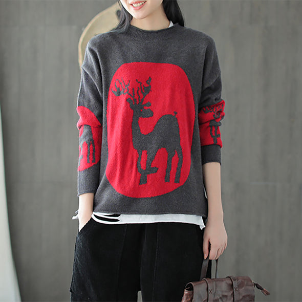 Women Deer Loose Round Neck Casual Sweater