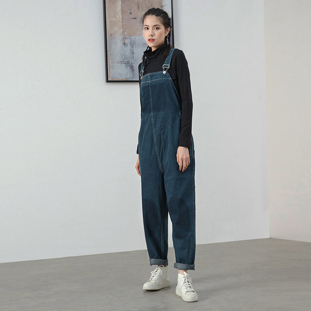 Women Denim Jumpsuit Cotton Casual Loose Overalls