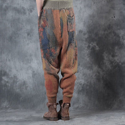 Women Elastic Waist Loose Winter Casual Pants