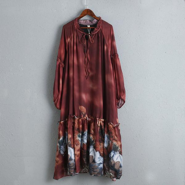 Floral Print Elegant Long Sleeve Red Dress