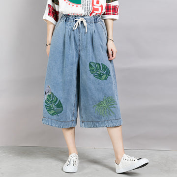 Women Embroidered Leaves Wide Leg Jeans
