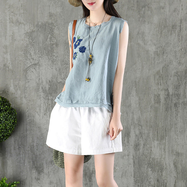 Women Embroidery Sleeveless Loose Casual Top