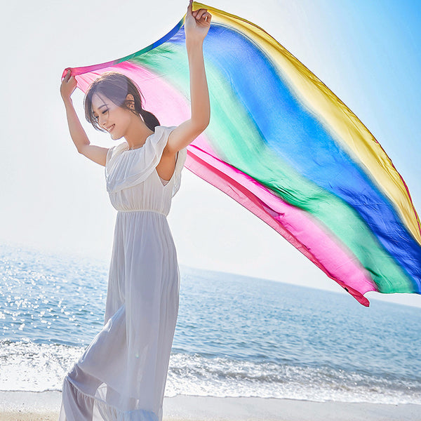 Women Fashion Rainbow Color Scarf Bikini Beach Shawl